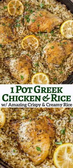 One Pot Greek Chicken and Rice is a quick weeknight meal with garlic, lemon, and super flavorful seasoned rice pilaf. One Pot Greek Chicken and Rice is a quick weeknight meal with garlic, lemon, and super flavorful seasoned rice pilaf. Crockpot Recipes, Cooking Recipes, Healthy Recipes, Quick Recipes, One Pot Recipes, Seasoned Rice Recipes, Kosher Recipes, Amish Recipes, Skillet Recipes