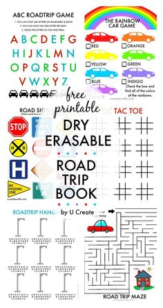 Free Printable Dry Erasable Road Trip Book for Kids. Perfect summer road trip activity!