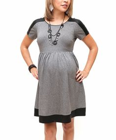Loving this Debbi O. Maternity Gray & Black Snakeskin Panel Maternity A-Line Dress on #zulily! #zulilyfinds
