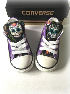 Sugar Skull Converse Purple Custom Converse Sugar by ShopWildRose
