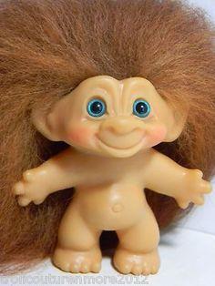 vintage troll dolls | VINTAGE DAM TROLL DOLL ** AUBURN ICELANDIC MOHAIR W/ teal eyes