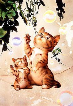 Makoto Muramatsu | makoto muramatsu art paintings cats pets #MakotoMuramatsu
