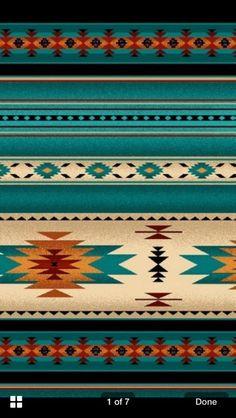 Southwest Turquoise, Orange Blanket Stripe, Navaho Designs, Tucson, By Yard~