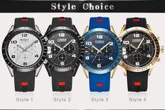 CURREN 8167 Silicone Strap Sport Quartz Watch Sport Watches, Watches For Men, Waterproof Watch, Watch Case, Watches Online, Watch Brands, T 4, Casio Watch, Quartz Watch