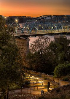 Walnut Street bridge sunset