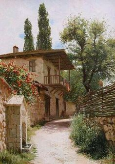 765 – Hermis D – Join the world of pin Scenery Paintings, Great Paintings, Beautiful Paintings, Landscape Paintings, Watercolor Landscape, Watercolor Art, Pintura Colonial, Pictures To Paint, City Landscape
