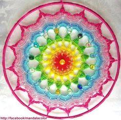 ❤~Crochet ~❤ MANDALA No pattern - for sale. Crochet Home, Love Crochet, Crochet Crafts, Crochet Yarn, Yarn Crafts, Crochet Projects, Beautiful Crochet, Crochet Motifs, Crochet Squares
