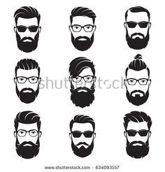 Set of vector bearded men faces hipsters with different haircuts, mustaches, beards. Silhouettes, avatars, heads, emblems, icons, labels.