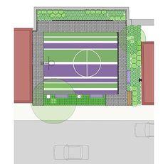 MCLA, New England, Massachusetts, Landscape Architecture, Design, Landscape, Public Park, Ward Street Pocket Park, Salem, Basketball Court, Neighborhood, Youth, Colored Paving, Purple, Green, Plan