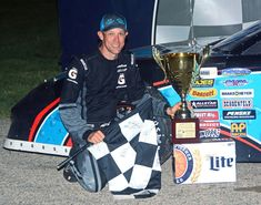 Matt Kenseth edged Ty Majeski with a last-lap move to capture the checkered flag at the SUPERSEAL Slinger Nationals presented by Miller Lite. Matt Kenseth, Monster Energy Nascar, Miller Lite, Champion, Racing, The Incredibles, Running, Auto Racing
