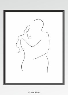 Minimalist line art. Romantic couple drawing by siret roots. #homedecor #bedroom #gallerywall