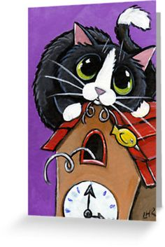 On the hour, every hour, the little yellow cuckoo explodes from his home in the clock. Well, he used to but it annoyed the cat so he did something about it! • Also buy this artwork on stationery.