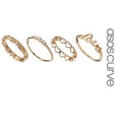 ASOS CURVE Love Midi Ring Pack (130 MXN) ❤ liked on Polyvore featuring jewelry, rings, accessories, anillos, joyas, gold, plus size, gold tone rings, gold mid finger rings and band rings