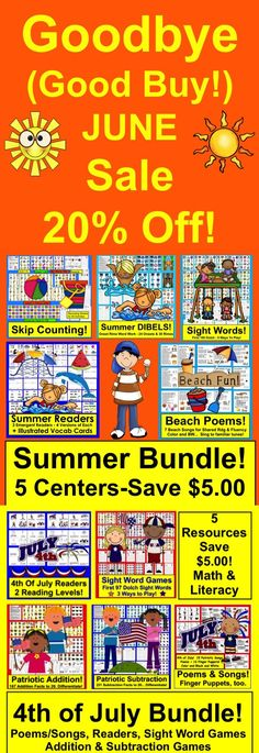 Summer Sale - Save 20% on all items!  Shop now for Back to School or Summer School... Fourth of July, too!