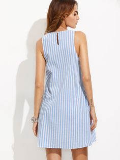 Casual Dress Blue and White Striped Sleeveless Shift Dress Summer Tank Dress Preppy Dresses, Simple Dresses, Blue Dresses, Casual Dresses, Summer Dresses, Sleeveless Dresses, Shift Dresses, Fashion Clothes, Fashion Dresses
