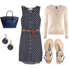 Navy Polka Dot Outfit