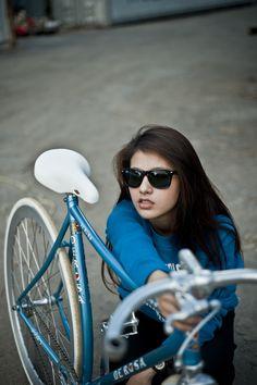 Fixie Lady (deRosa fixed gear girl) Bicycles Love Girls. http://bicycleslovegirls.tumblr.com/
