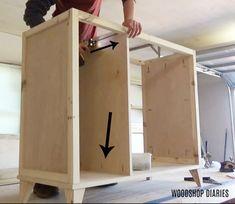 Laundry Hamper Cabinet, Tilt Out Laundry Hamper, Tilt Out Hamper, Laundry Cabinets, Diy Cabinets, Trash Can Cabinet, Diy House Projects, Laundry Room Design, Diy Furniture Plans