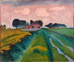 Jan Altink, De rode boerderij, 1924, was- en olieverf op doek, 60.5 x 70.5 cm,
