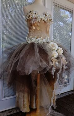 CUSTOM Handmade Wedding Dress Mini Plus Tail Beige Roses Tulle Embroidered Vintage  Appliques Lace Size 12