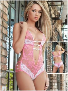 $8.95 Pink Erotic Foreplay Lace Teddy