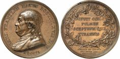 Benjamin Franklin. Natus Boston medal, 1786, by Augustin Dupré. Obv: Aged Franklin bust left. Rev: Legend in four lines, oak wreath. Bronze. 46.64 grams. 45.77 mm. Betts 620.