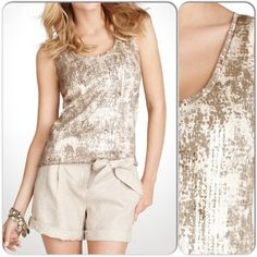 ⚡️FLASH⚡️HP 12/23 & 2/23Ann Taylor Sequin Tank HOST PICK! 12/23 and 2/23 by svalentine and threebeez at the Laid-back Glam Party and Simply Stylish Party. NWT. Ann Taylor printed tank with clear sequin stripes in the front. Casual with a hint of subtle glamour. Size is XXSP. Retailed at $48 + tax and shipping. Ann Taylor Tops Tank Tops