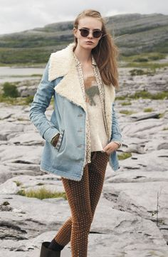 Free shipping and returns on Free People Faux Shearling Lined Denim Coat at Nordstrom.com. An oversized faux shearling collar and carpetbag cloth accents at the back yoke and vent add boho chic to a vintage denim coat.
