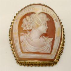 Good Luck Cameo Pin 10k Gold Bezel Vintage Brooch