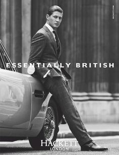 Here's an advert from a British clothing company called Hackett. In this advert we have a fit looking man, with a very serious look on his face, wearing a suit, leaning on a vintage car (possibly an old Jaguar or maybe even an Austin Martin). These are all traits which point at being a stereotypical 'man'. This ad is only using this man, with those clothes because of how 'manly' he looks, which in-turn interests other men (the audience for the product(s)) to want to look just like him.