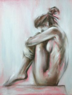 Giclee Print 8 x 10 inches - original figure painting of a sitting nude female by Meredith O'Neal