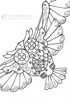 Steampunk Owl - inked by Mitzi Sato-Wiuff * Coloring pages colouring adult detailed advanced printable Kleuren voor volwassenen coloriage pour adulte anti-stress kleurplaat voor volwassenen Line Art Black and White