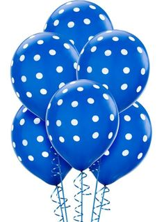 Latex Royal Blue Polka Dots Printed Balloons 12in 6ct - Party City $2.99
