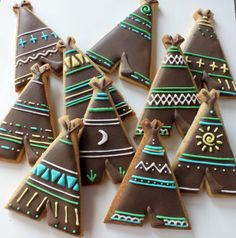 Teepee cookies. Every teepee had it's own unique design. YUM cakes, cookies, craft