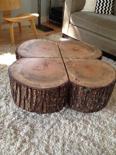 Shamrock Coffee Table on wheels #LogFurniture