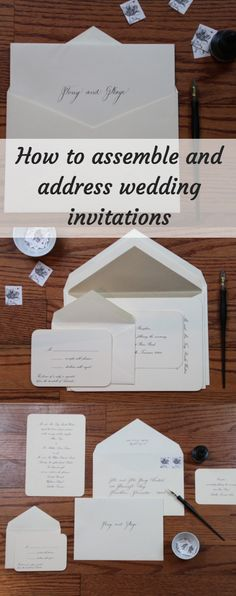 a definitive guide to assembling a wedding invitation and addressing envelopes - How To Assemble Wedding Invitations