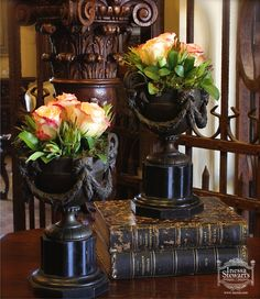 Spring is almost here! Fresh flowers inside antique vases and containers breathe life into the home. Designed by Inessa. #antiques