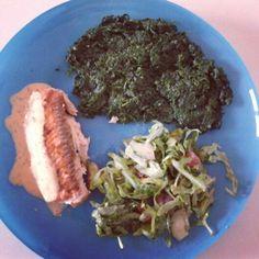 Lachs mit Blattspinat und Rucola Salat :) #Dinner #healthy