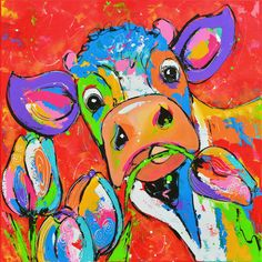 DIY Diamond Painting - Colorful Pictures 15 - Real Time - Diet, Exercise, Fitness, Finance You for Healthy articles ideas Cross Paintings, Animal Paintings, Your Paintings, Cow Painting, Painting & Drawing, Art Fantaisiste, Cartoon Cow, Cow Art, Abstract Animals