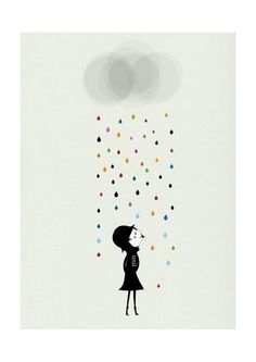 Mademoiselle under the rain  archival giclee print  printed on 200gsm archival matte paper  print measures 8.5 inches x 11 inches (includes white border for framing)  hand signed by Blanca  artist:  Blanca Gomez