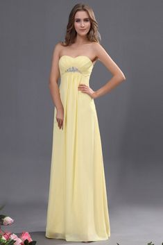 07a36298851 A-line Empire Strapless Sweetheart Beading Long Chiffon Formal Dresses. Pale  Yellow ...
