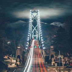 Night view of Lions Gate Bridge in Vancouver, B.C.