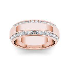 De Couer 14k Rose Gold 7/8ct TDW Diamond Men's Exquisite Wedding Band (H-I, I2)