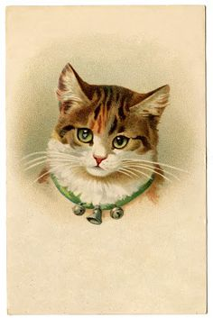 *The Graphics Fairy LLC*: Vintage Pictures - Cute Kitty Cat with Bells #VintageImage