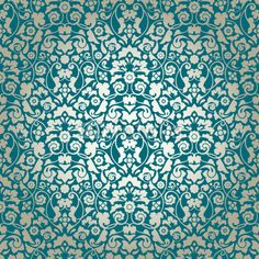 Seamless Damask Pattern Turquoise/Gold Wallpaper