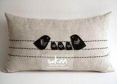 Sukan /  Love Family Birds Linen Pillow Cover - Accent Pillows - Nursery Decor - Raw Linen Pillow - Lumbar Pillow - 12x20 Pillow