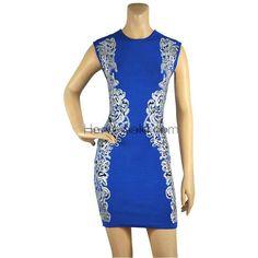 Herve Leger Blue Printed Bandage Dress HL620BP