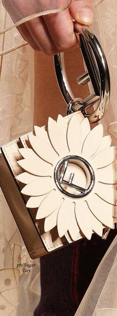 small circle handled bag with double petal leather flower detail Fashion Handbags, Fashion Bags, Purses And Handbags, Fashion Accessories, Fall Handbags, Fendi, Creative Bag, Bags 2017, Beautiful Bags