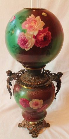 VERY RARE 1800's Antique Gone with the Wind Oil Lamp with Roses.