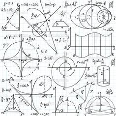 Красивые векторные бесшовные модели математических фигур и участков, «от руки на бумаге тетрадь